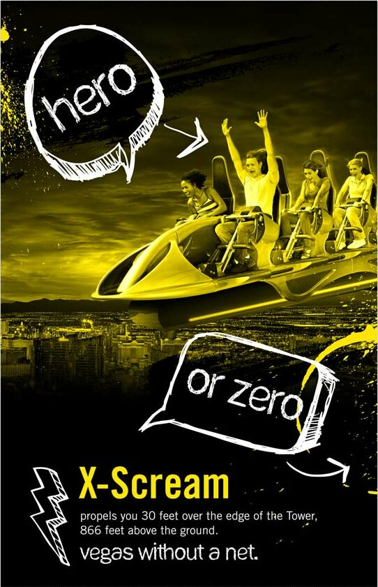 x-scream stratosphere thrill rides copywriting