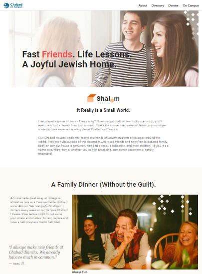 chabad on campus website copywriting