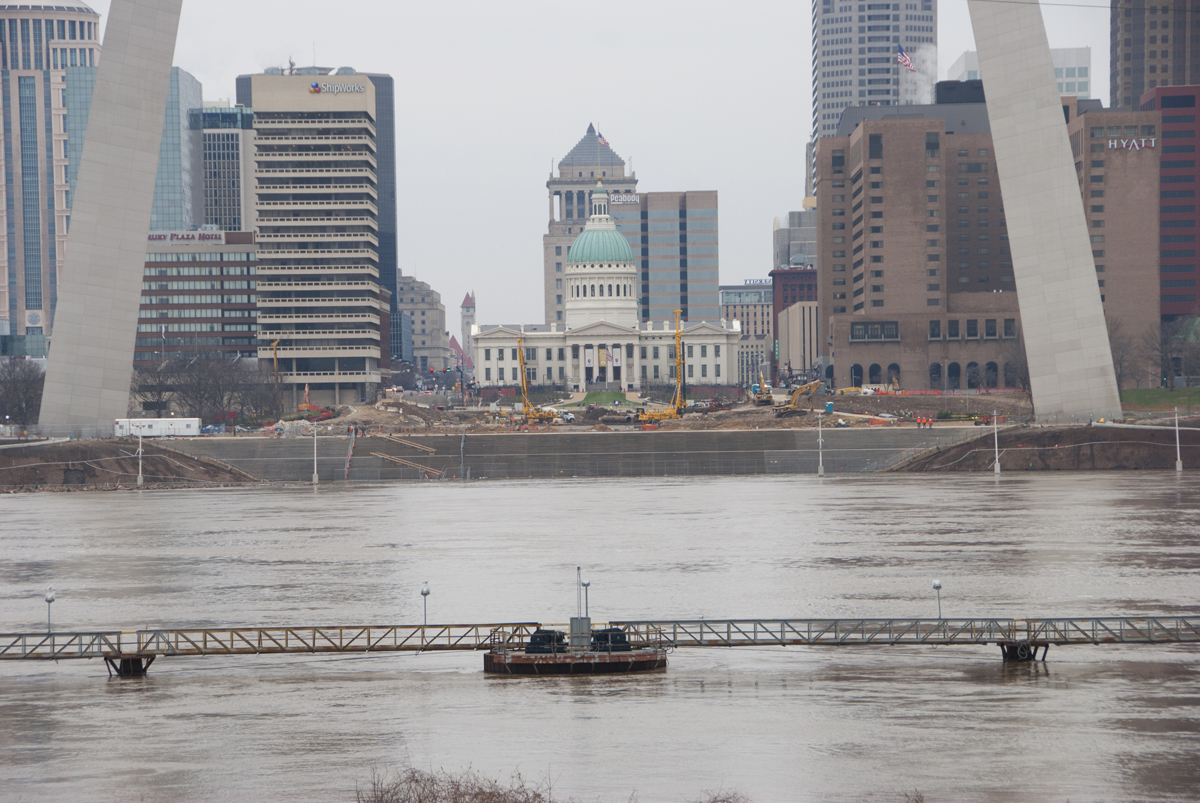 Picture of the Day: High Water Creeps Up Toward the Arch