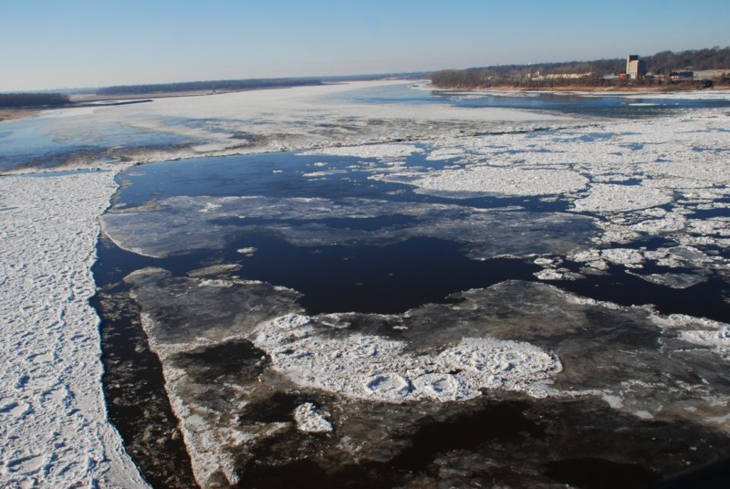 A winter view of the Chain of Rocks on the icy Mississippi River