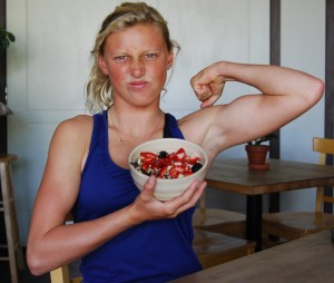 Lakey is pumped up about her No. 1 choice, Backyard Bowls. Her favorite is the Berry Bowl, a energetic feast that includes an acaî-based berry blend topped with granola, fresh strawberries, bananas, goji berries, black berries and honey.