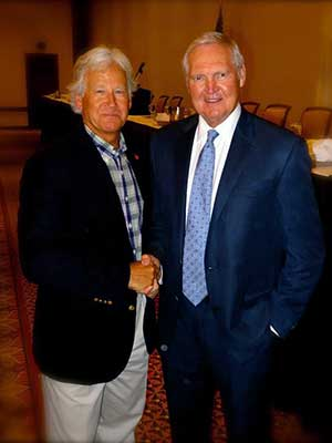 Randy Weiss with NBA legend Jerry West at a Santa Barbara event in 2014.