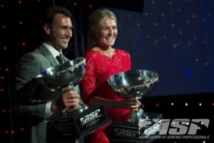 2012 World Champions Joel Parkinson and Stephanie Gilmore at last night's ASP Awards Banquet. (ASP Photo)