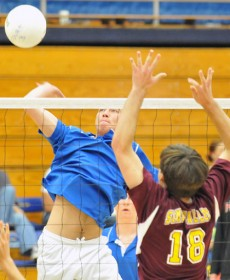 Max Wilson of San Marcos delivers a spike during Saturday's Dos Pueblos Invitational.