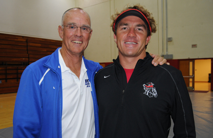 "New SBCC women's swimming coach, Brian ""Chuckie"" Roth, right, with UCSB head swimming coach Gregg Wilson."