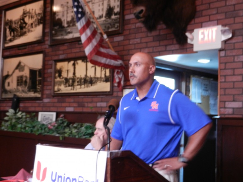 San Marcos football coach Anthony Linebaugh talks about his team's stunning comeback win over Rio Mesa at the first Santa Barbara Athletic Round Table Luncheon of the 2013-14 school year.