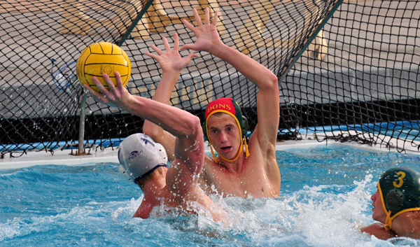 San Marcos' Shane Hauschild gets the ball in front of the goal with only SB's Jack Palmer to beat. (Presidio Sports Photo)