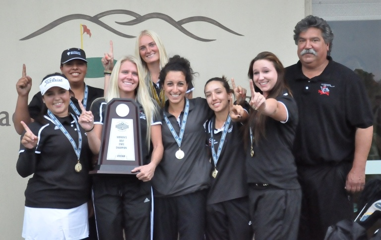 The Santa Barbara City College women's golf team after winning the State Championship