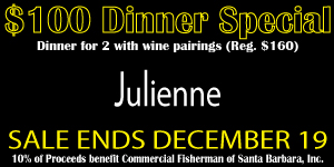 Click on image to learn more about the special offer from Julienne and CentralCoastDining.com