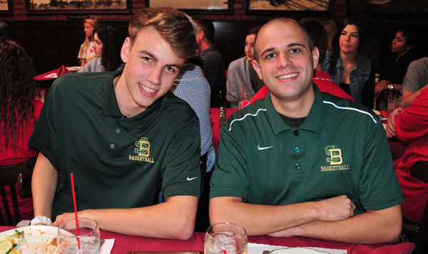 Jack Baker is joined by Santa Barbara High assistant coach Joe Bregante at Monday's  SBART press luncheon.