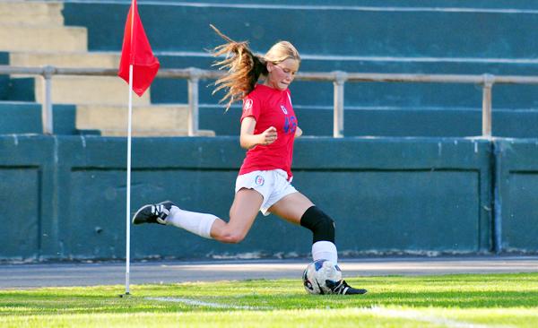 A San Marcos corner kick in the junior varsity game.