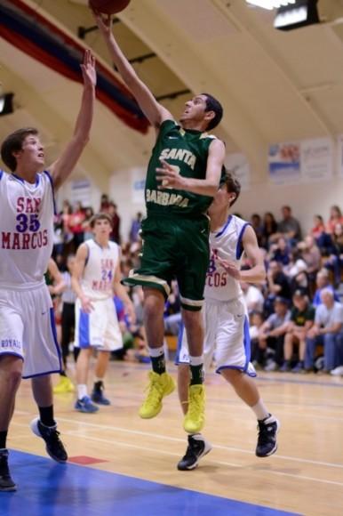 Isaiah Tapia drives to the hoop for Santa Barbara. (Cummingsproductions.com)
