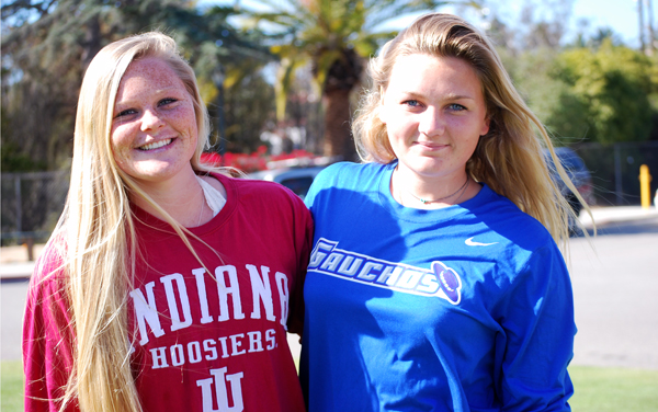 Water polo player Anna Brummett, left, is going to Indiana while Santa Barbara High teammate Betsy Hendrix is staying home to attend UCSB.