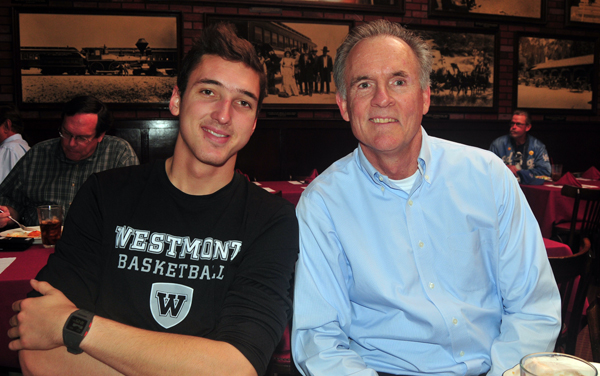 Athlete of the Week CJ Miller with Westmont Head Coach John Moore at Harry's on Monday. The Warriors are coming off a big win on Saturday over rival Biola.