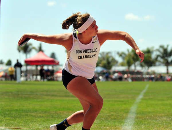 Stamatia Scarvelis set a meet and stadium record in the discus with a toss of 156-1.50