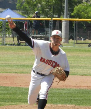 Justin Bruce pitched eight shutout innings to pick up the victory.