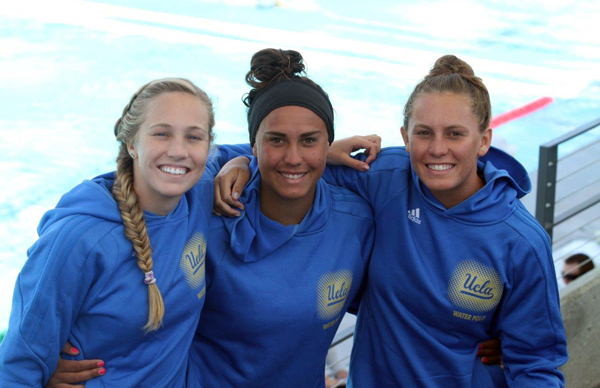 UCLA's women's water polo team features Kelsey O'Brien, left, Sami Hill, center, and Kodi Hill, right, all of whom come from Santa Barbara.