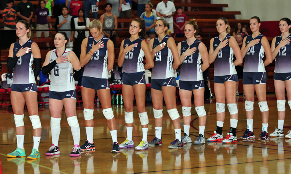 The U.S. women's national volleyball team wore the USA uniform in a match for the first time in 2014 at SBCC.
