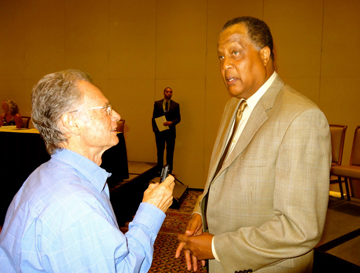 Local sports reporter John Zant interviews Naismith Basketball Hall of Famer and former Santa Barbara Don Jamaal Wilkes