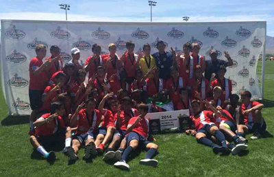 Santa Barbara Soccer Club's U18 and U16 teams celebrate together after winning U.S. Youth Soccer Far West Regional championships.