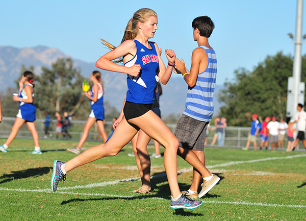 Erica Schroeder races to the finish line on Wednesday.