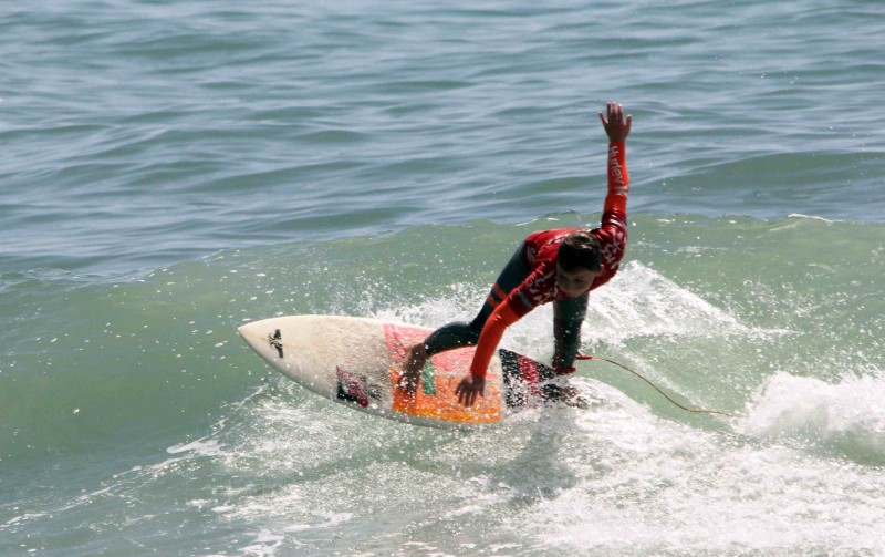 Hamilton Jacobs cuts back on a wave during the NSSA Gold Coast Conference meet at C Street in Ventura.