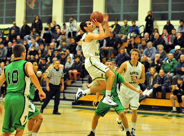Santa Barbara's Max Henderson drives into the lane for an open look at the basket. (Presidio Sports Photo)