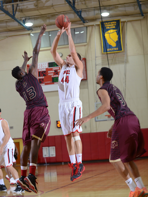 SBCC's Tommy Walker puts up a jump shot against Victor Valley in the final of the SBCC Classic