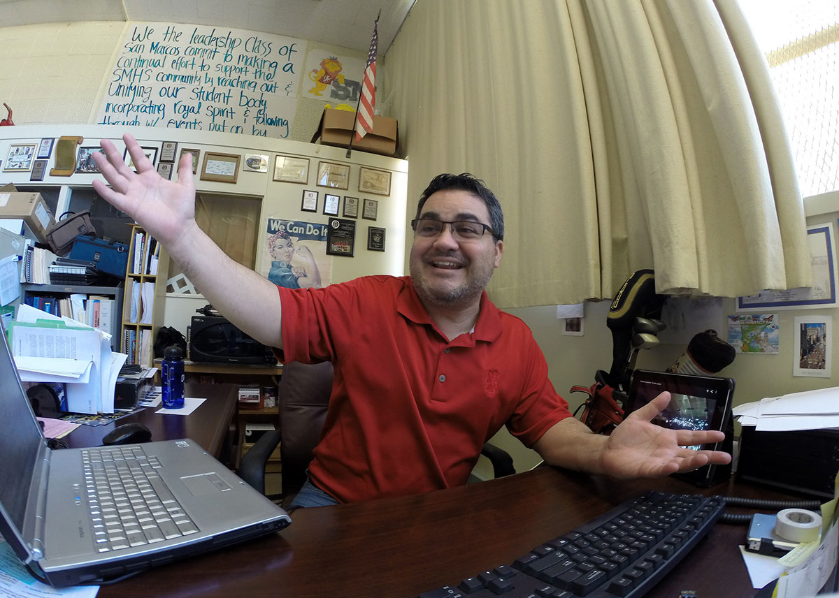 Aaron Solis in his classroom on the San Marcos High School campus.