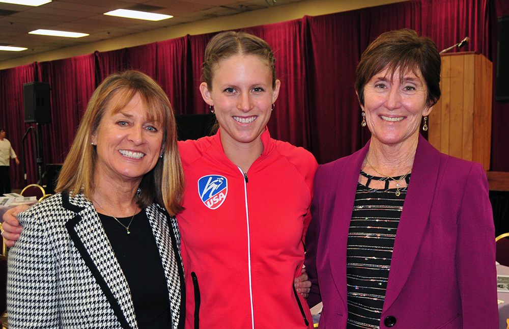 Santa Barbara Athletic Round Table president Laurie Leighty, left, Alissa Johnson, center, and WISL committee chair Catharine Manset.