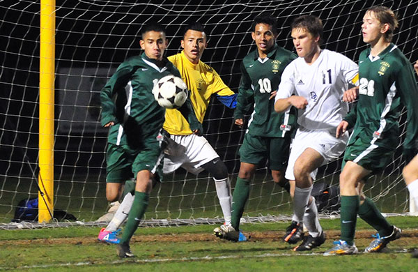 Angel Cervantes, in yellow jersey, and the Santa Barbara High defense had five shutouts in eight Channel League games.