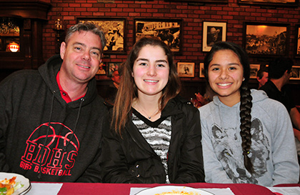 Coach Jeff Burich, and players Jordyn Lilly and K'lei Martinez of the CIF Finals-bound Bishop Diego girls basketball team.