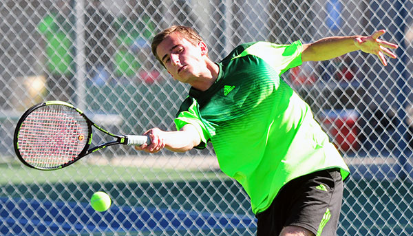 Santa Barbara's Jackson Powell returns a shot in Thursday's Channel League win for the Dons.