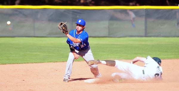 Santa Barbara's John Jensen beats the throw to Royals second baseman Anthony Sanchez.