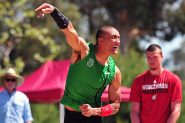 Olympic decathlon champion and world record holder Ashton Eaton competed in the shot put and long jump on Friday.