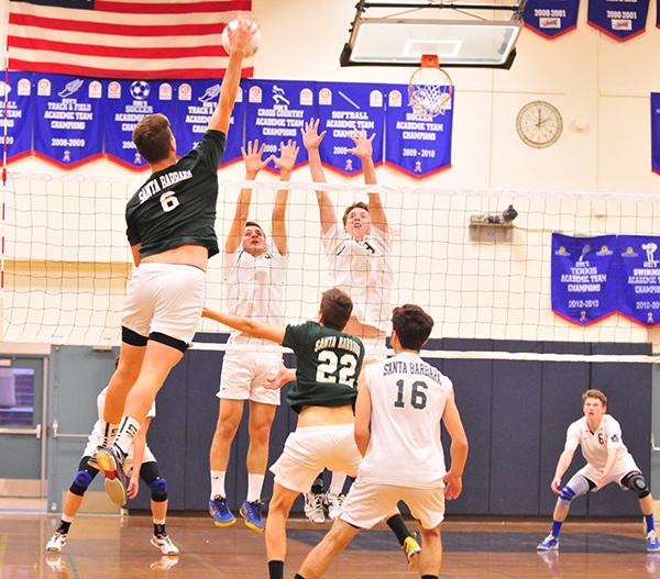 Santa Barbara High's Jasper Rhodes hits at Dos Pueblos on Tuesday. (Presidio Sports Photos)