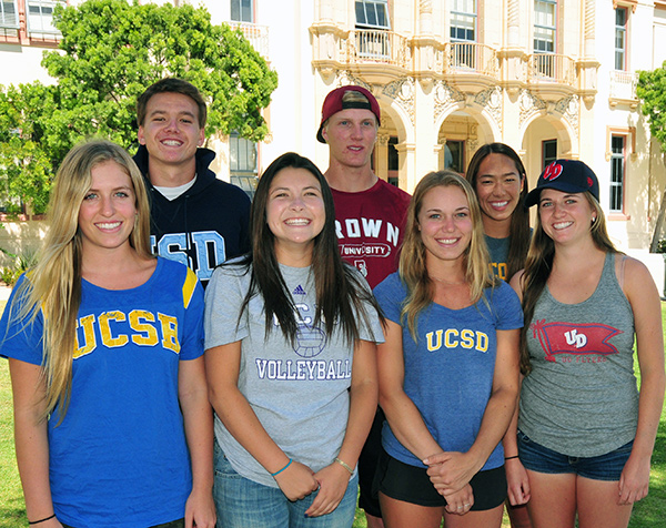 Seven Santa Barbara High student-athletes are playing NCAA athletics next season: (L to R) Lexi Rottman, Russell Enholm, Cassandra Amador,  Dalton Schroeder, Madison Hale, Siena Goggia, Mattea Kilstofte. (Presidio Sports Photo)