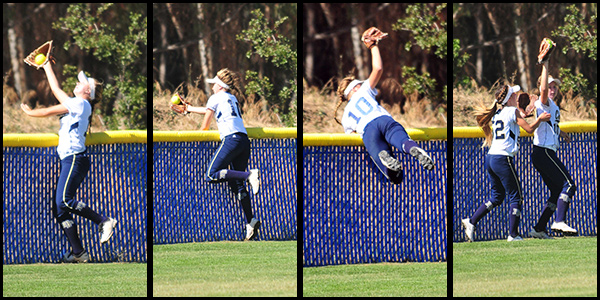 Dos Pueblos' Ali Milam robs Buena's Brooke Yanez of a two-run home run with a spectacular catch in right field on Tuesday.