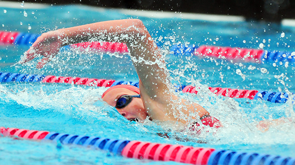 San Marcos' Paige Hauschild swimming the freestyle on Tuesday.