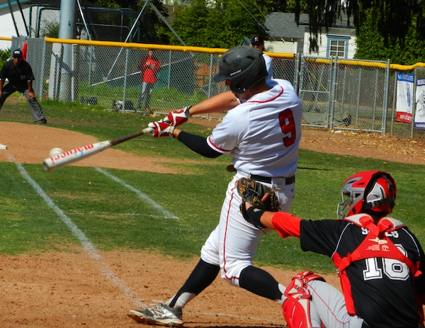 SBCC's Jimmy Brakka hits a home run to lead off the fourth inning.