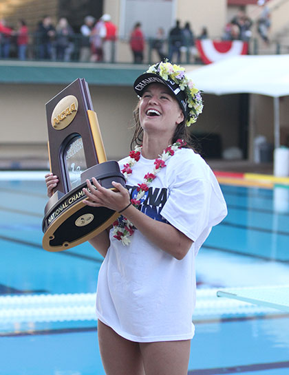 Dos Pueblos alum Kiley Neushul scored five goals to lead Stanford to a 7-6 win over UCLA for its second straight NCAA women's water polo title. (Courtesy Photo)