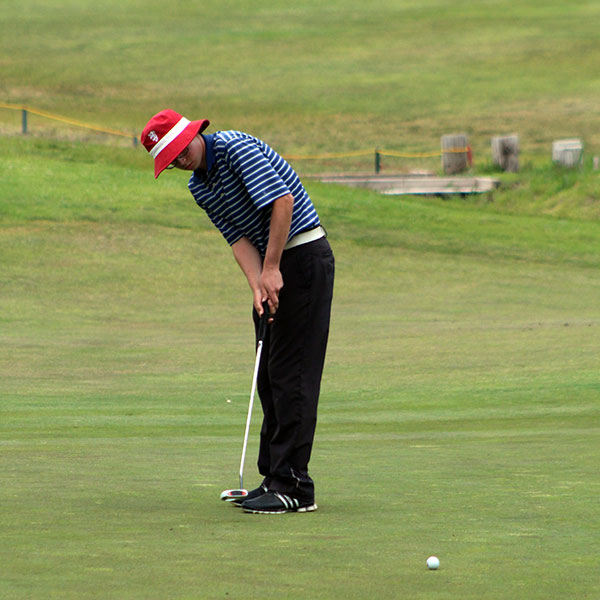 San Marcos' Sam Metzger  perfectly lines up a putt on the 18th green on Tuesday.  (Courtesy Photo)