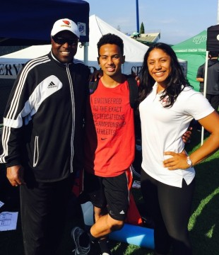Bishop's double CIF champion AV Bennett with his coaches Jason Gamble, left, and Veronica Gines.