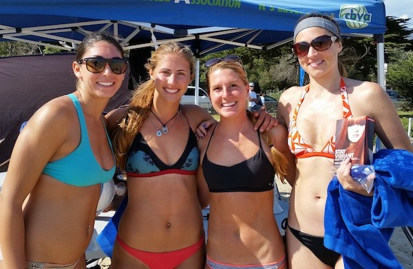 The CBVA Women's A finalists, from left, Marina Boulanger, Maddie Leiphardt, Kelsy Siegel and Ann Cowell. Boulanger-Leiphardt won the title.