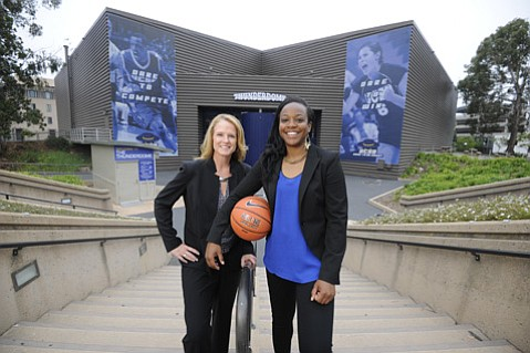 UCSB's new head women's basketball coach Bonnie Henrickson (left) tapped former Gaucho star Mia Fisher (right) to be an assistant head coach. Together, they hope to turn the team around from the recent dismal 2-27 season. (Paul Wellman Photo)