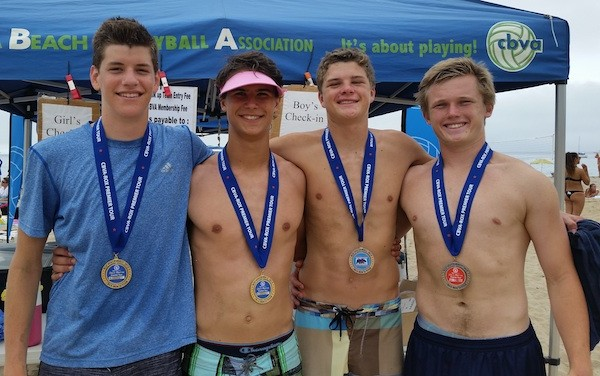 In an all-local Boys 18s final, Cooper Johnson, left, and Rowan Peake topped Philip Fauntleroy and Pierce O'Donnell.