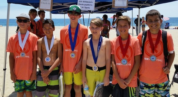 12U medal winners, from left: 3rd Dylan Foreman/Camden Millington  santa barbara 1st Nolan Naess/Booker Frith from Laguna Beach 2nd Alex Rottman/Peter Tebbe. Santa Barbara