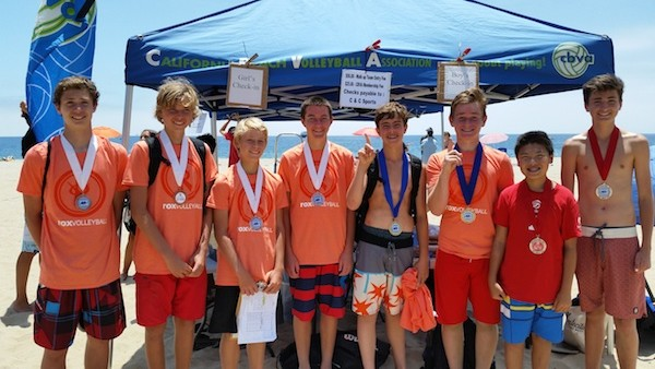 The  medal winners in the Boys 14U division were, from left:  Joakim Moe and Brennan Ware (third); Tanner Stevens and Toby Still (third); champions Charlie MacNeil and Kyle Aitcheson and runners-up Matthew Suh and Sam Stegall.