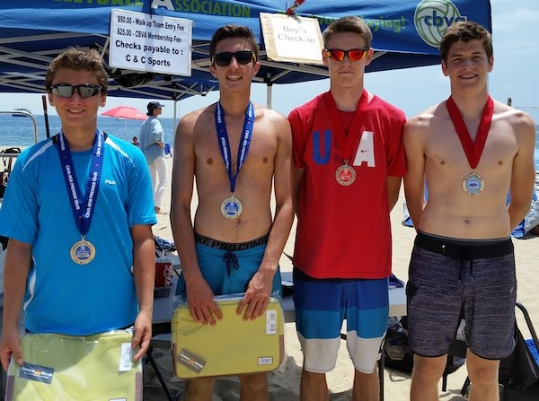 The 18U finalists, from left: champions Brett McDonald/John Duffy and second-place Henry Hancock/ Cooper Johnson.