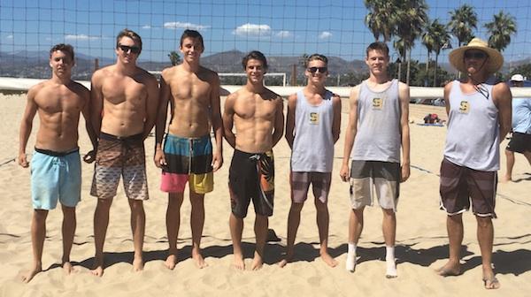 The Santa Barbara High boys beach volleyball team is, from left: Cord Pereira, JM Cage, Bolden Brace, Rowan Peake, Piper Davis, Henry Hancock and coach John Hancock. (Photo by Chad Arneson)